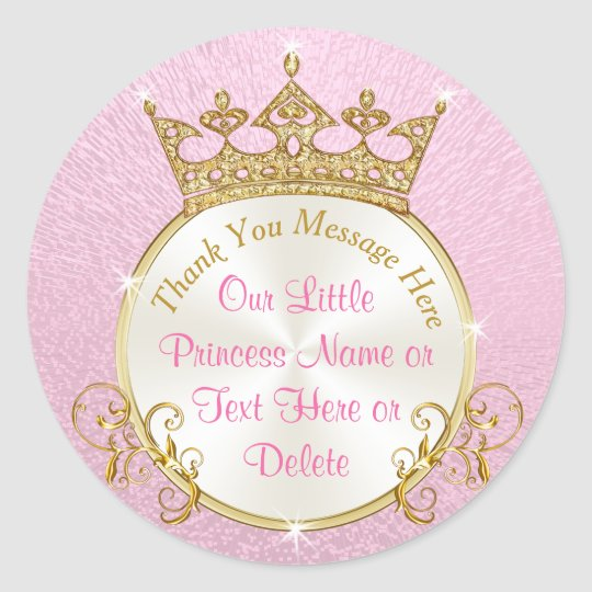 Pink and Gold Personalised Princess Stickers
