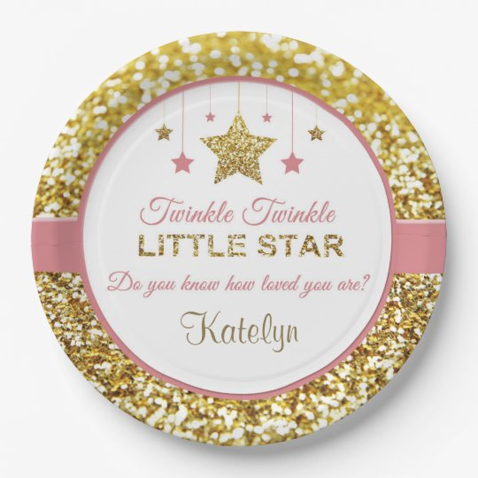pink and gold plates twinkle twinkle little star paper plate. Black Bedroom Furniture Sets. Home Design Ideas
