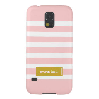 Pink and Gold Preppy Stripes Monogram Case For Galaxy S5