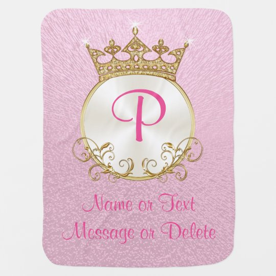Pink and Gold Princess Baby Blanket PERSONALIZED