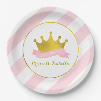 Pink and Gold Princess Birthday Party 9 Inch Paper Plate