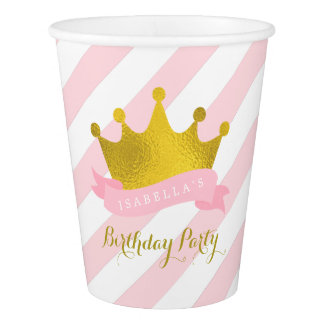 Pink and Gold Princess Birthday Party Paper Cup