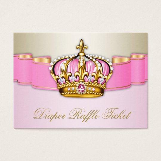 Pink and Gold Princess Girls Diaper Raffle Ticket