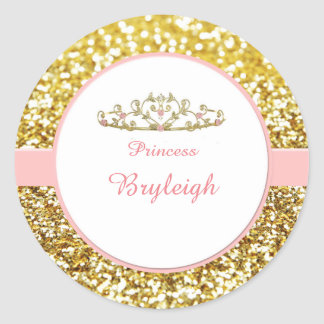 Pink and gold princess stickers