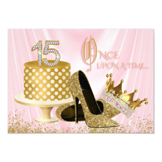 Pink and Gold Quinceanera 13 Cm X 18 Cm Invitation Card