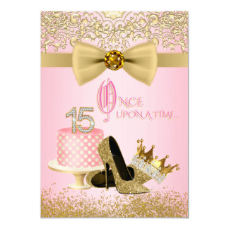 Pink and Gold Quinceanera Princess 15th Birthday 13 Cm X 18 Cm Invitation Card