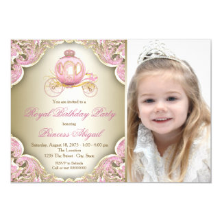 Pink and Gold Royal Princess Photo Birthday Party 13 Cm X 18 Cm Invitation Card
