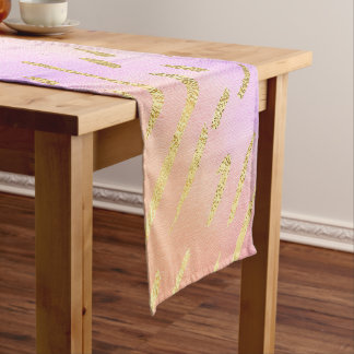 Pink and Gold Short Table Runner