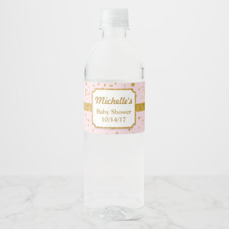 Pink and Gold Shower Water Bottle Labels