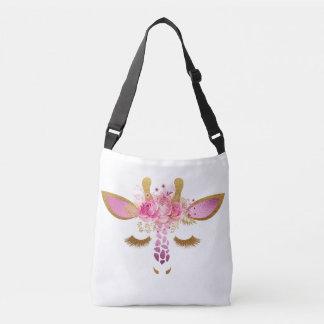Pink and Gold Sleepy Giraffe Crossbody Bag