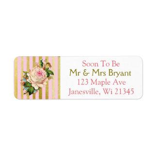 Pink and Gold Striped Rose Return Address Label