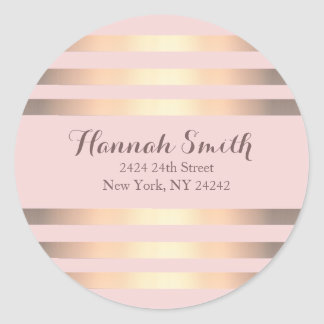 Pink And Gold Stripes Return Address Seal