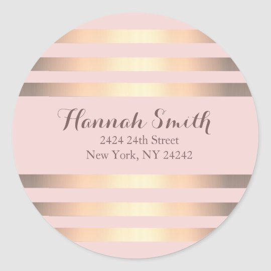 Pink And Gold Stripes Return Address Seal Round