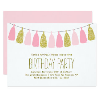 Pink and Gold Tassel Garland Birthday Party 13 Cm X 18 Cm Invitation Card