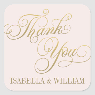Pink and Gold | Thank You Favor Square Sticker