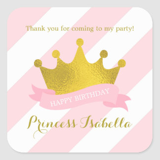Pink and Gold Tiara Princess Birthday Square Sticker