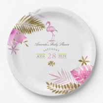 Pink and Gold Tropical Flamingo Girl Baby Shower Paper Plate