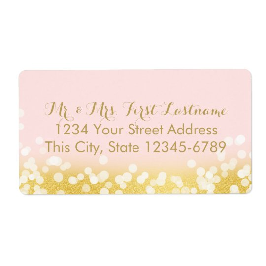 Pink and Gold Twinkle Lights Shipping Label