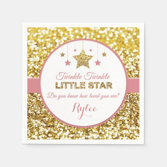 Pink and gold Twinkle Twinkle little star napkins