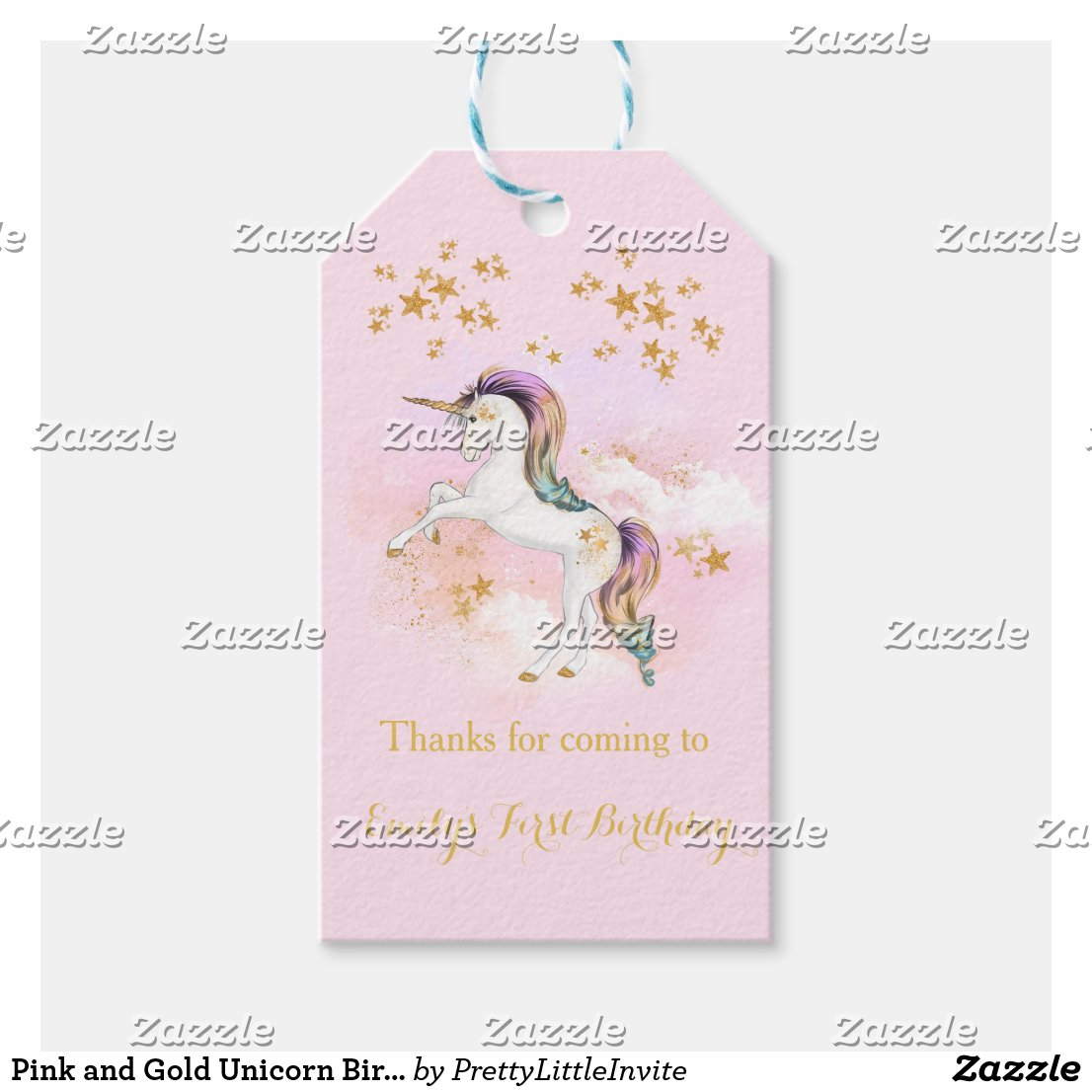 Pink and Gold Unicorn Birthday Party Favour Tags