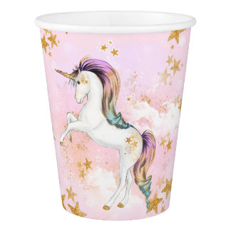 Pink and Gold Unicorn Birthday Party Paper Cups