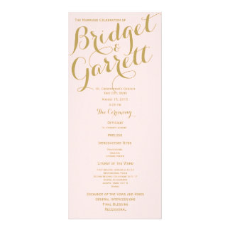 Pink and Gold Wedding Program Rack Card Template
