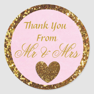 "Pink and Gold Wedding Thank you Sticker ""Mr & Mrs"""