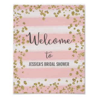 Pink and Gold Welcome Poster Print