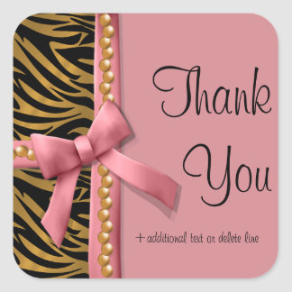 Pink And Gold Zebra Striped With Pearls Square Sticker