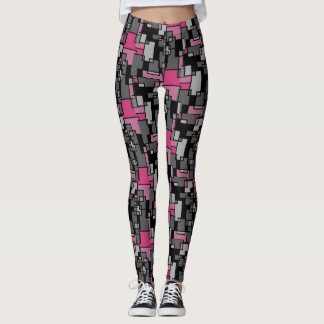 Pink and Gray Abstract Doodle Art Leggings