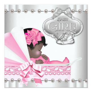 Pink and Gray African American Baby Shower Personalized Announcement