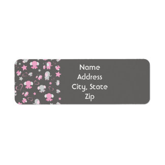 Pink and Gray Baby Elephant Pattern Print