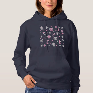 Pink and Gray Baby Elephant Pattern Print Hoodie
