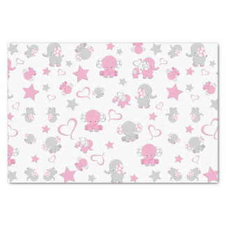 Pink and Gray Baby Elephant Pattern Print Tissue Paper
