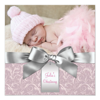 Pink and Gray Baby Girl Photo Christening Card