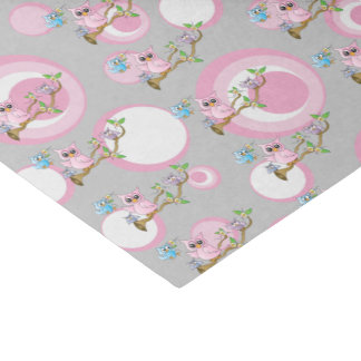 Pink and Gray Baby Owls | Shower Theme Tissue Paper