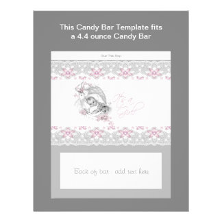 Pink and Gray Baby Shower Candy Bar Wrapper 21.5 Cm X 28 Cm Flyer