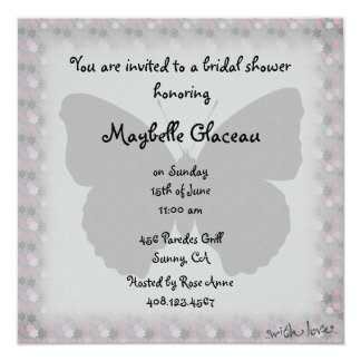 Pink and Gray Butterfly Bridal Shower 13 Cm X 13 Cm Square Invitation Card