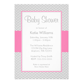 Pink and Gray Chevron Baby Shower Invitations Announcements