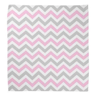 Pink and gray chevron bandana