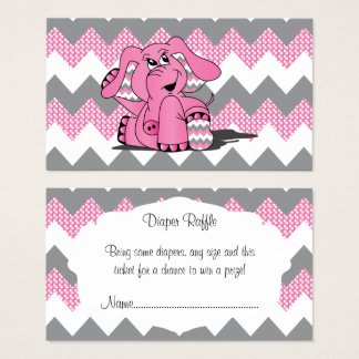 Pink and Gray Chevron Elephant Baby Diaper Raffle Business Card