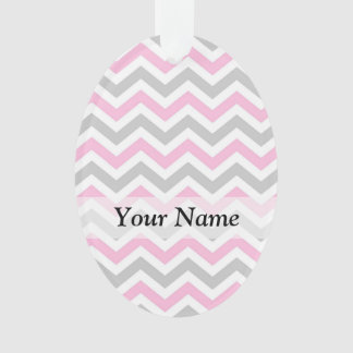 Pink and gray chevron ornament