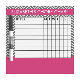 Pink and Gray Chevron Pattern Chore Chart Dry-Erase Whiteboards