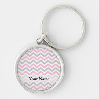 Pink and gray chevron pattern key chains