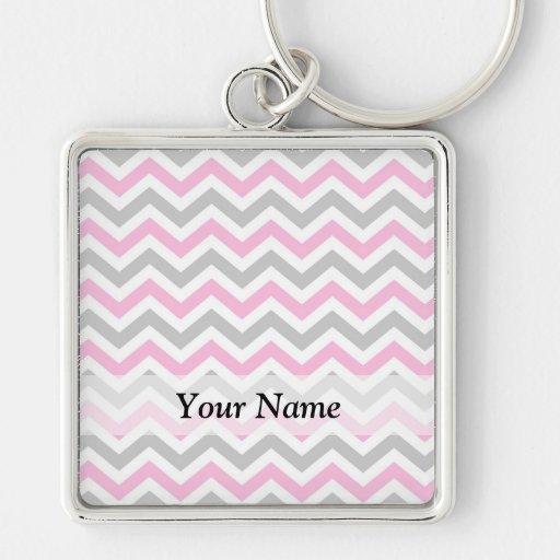 Pink and gray chevron pattern key chain