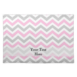 Pink and gray chevron placemat