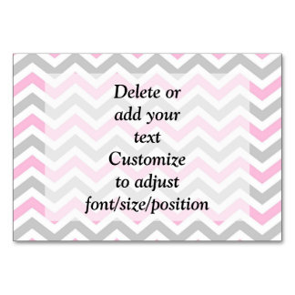 Pink and gray chevron table cards