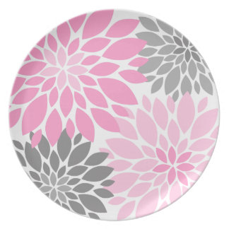 Pink and Gray Chrysanthemums Floral Pattern Dinner Plates
