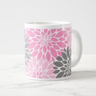 Pink and Gray Chrysanthemums Floral Pattern Large Coffee Mug