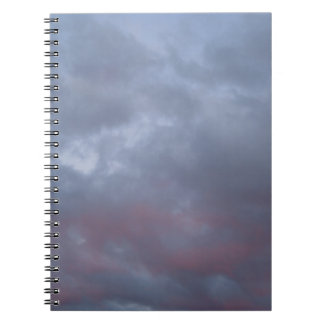 Pink and Gray Cloud Photo before Storm Spiral Notebooks